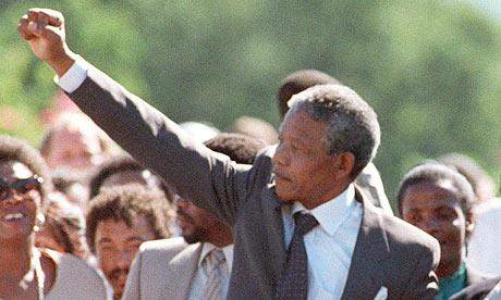 Nelson Mandela when he was released from prison