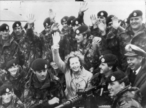 Matgaret Thatcher after the Falklands war victory